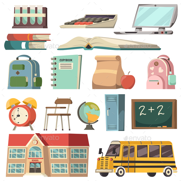 GraphicRiver School Orthogonal Icon Set 20595313
