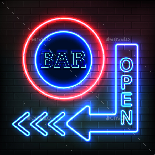 GraphicRiver Open Bar Neon Signboard Realistic Background 20595315