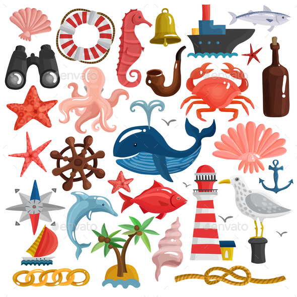 GraphicRiver Nautical Elements And Sea Life Set 20595319