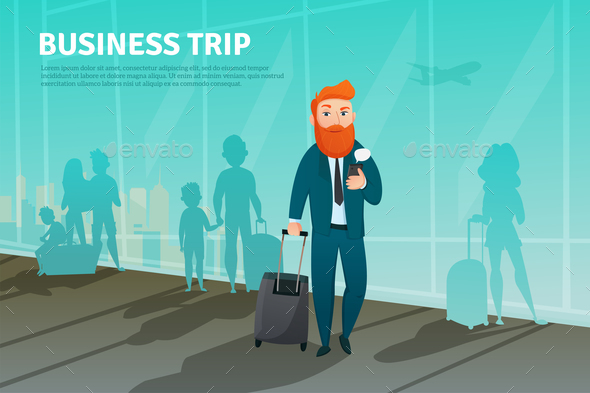 Businessman in Airport Poster - People Characters