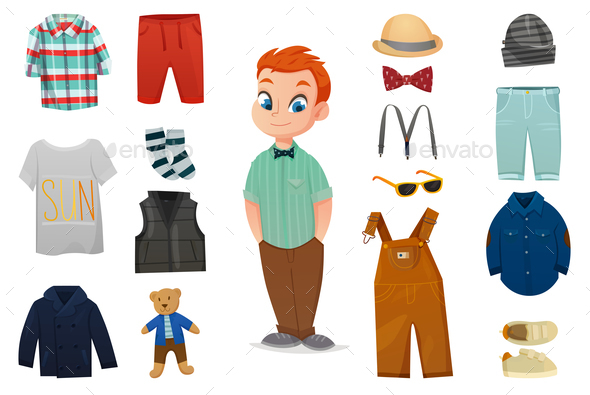 Baby Boy Fashion Icon Set - People Characters