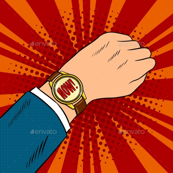 Wrist Watch Show Now Pop Art Vector Illustration - Miscellaneous Vectors