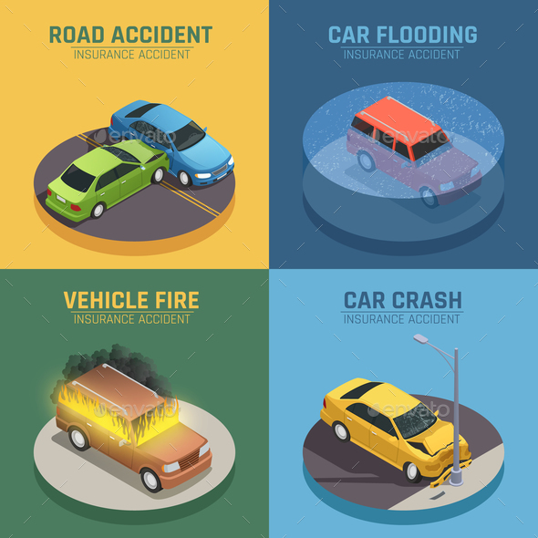 GraphicRiver Auto Insurance Isometric Icons Square 20595529