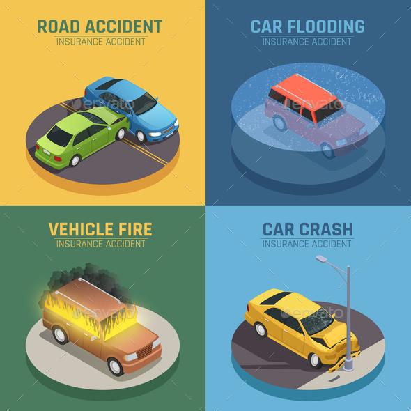 Auto Insurance Isometric Icons Square - Miscellaneous Conceptual