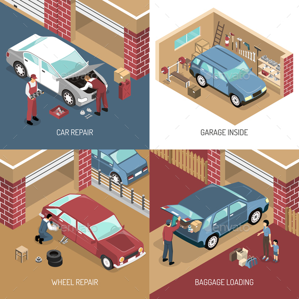 GraphicRiver Garage Isometric Design Concept 20595539
