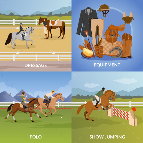 Equestrian Sport Design Concept - Animals Characters