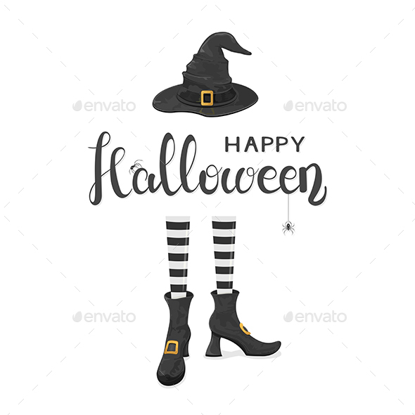 GraphicRiver Halloween Theme with Witches Legs in Shoes and Hat 20595595