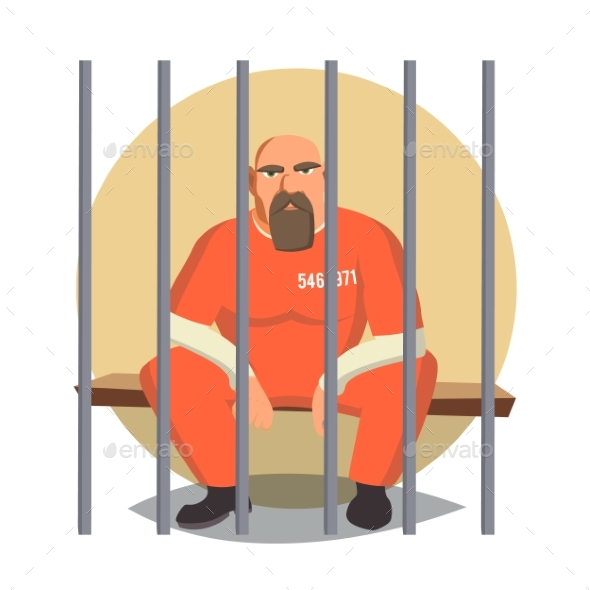 Prisoner In Jail Vector - People Characters