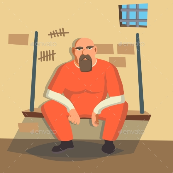 Man in Prison Vector - People Characters