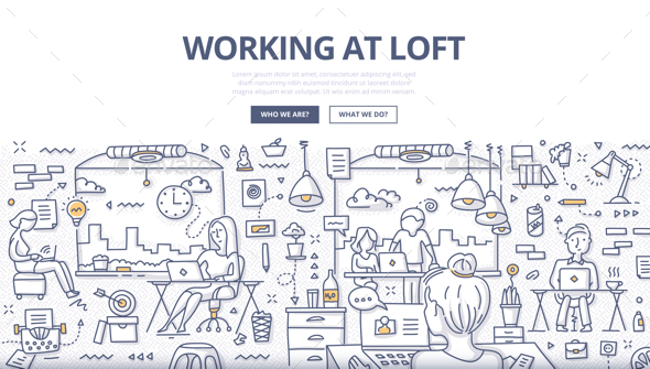 GraphicRiver Working at Loft Doodle Concept 20595982