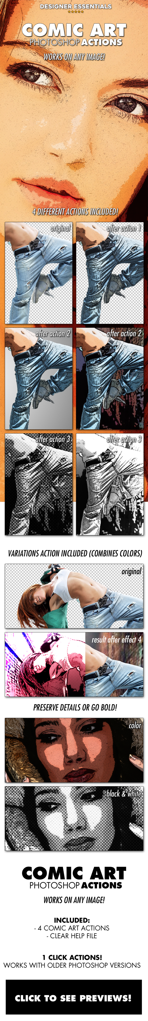 Comic Art Actions - Photo Effects Actions