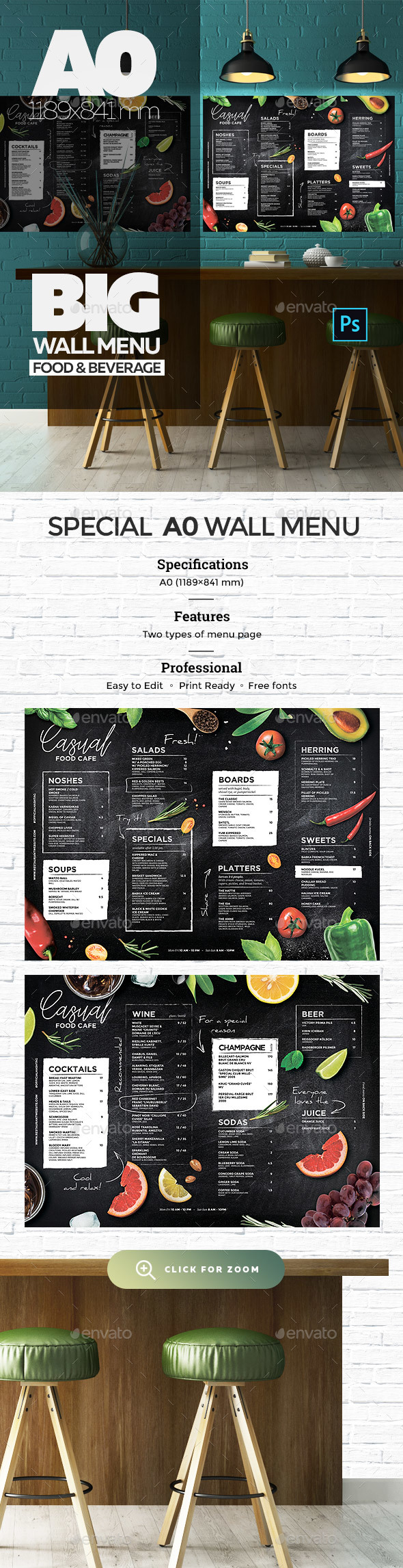 Chalkboard Wall Menu - Food Menus Print Templates