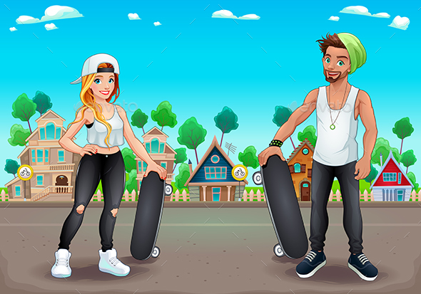GraphicRiver Skaters Boy and Girl on the Street 20596027