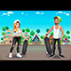 Skaters Boy and Girl on the Street - GraphicRiver Item for Sale