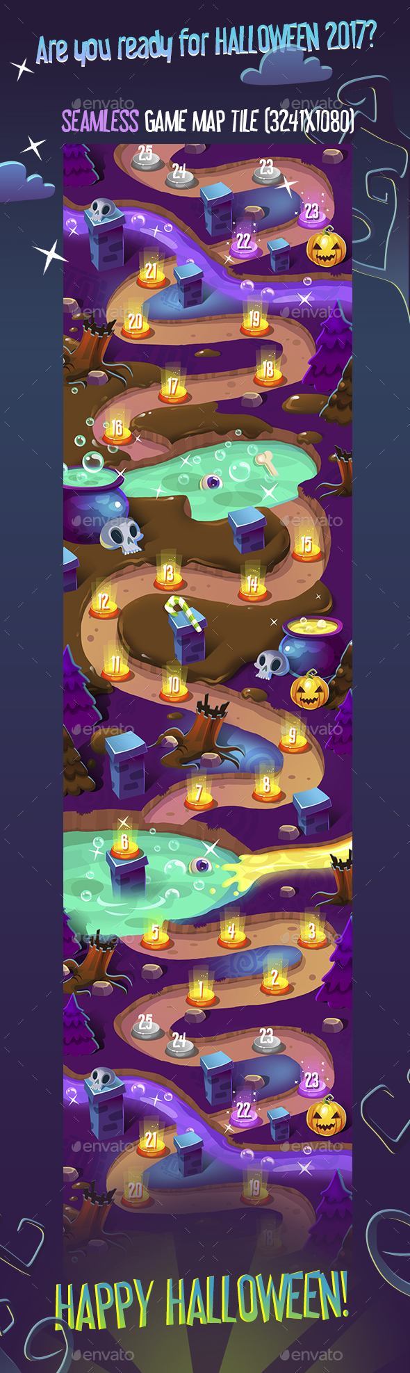 GraphicRiver Seamless Halloween Dark Game Map 20596028