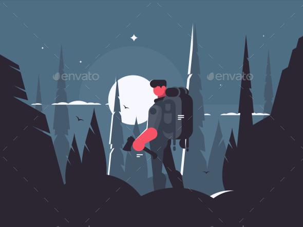Man Traveler in Night Hike - People Characters
