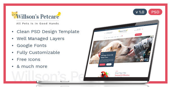 Pets Care - Pets Clinic Template - Corporate PSD Templates