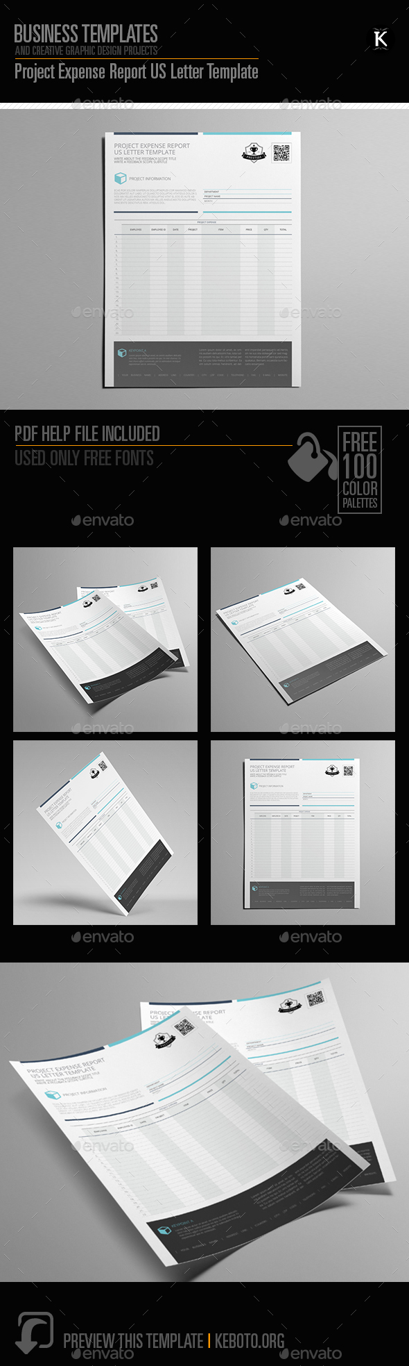 Project Expense Report US Letter Template - Miscellaneous Print Templates