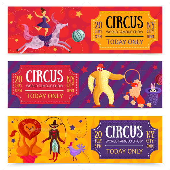 Circus Horizontal Banners Set - Animals Characters