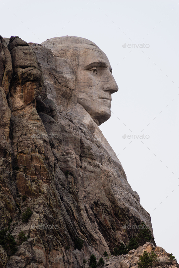 George Washington Profile Granite Rock Mount Rushmore South Dakota - Stock Photo - Images