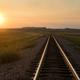 Railroad Tracks Reflect Sunrise Rural American Transportation  - PhotoDune Item for Sale