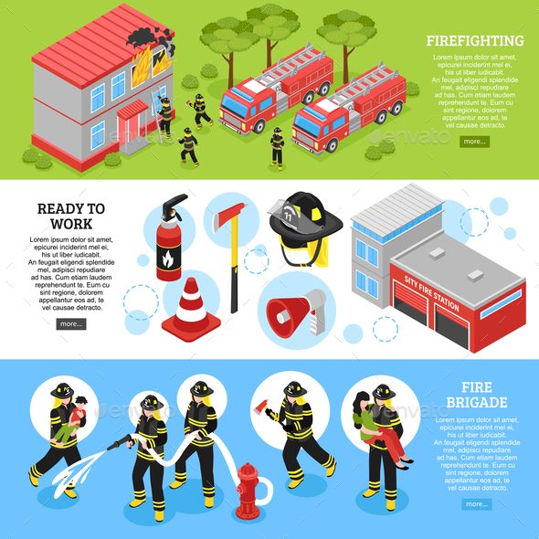 GraphicRiver Isometric Firefighter Banners 20596288