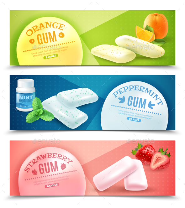 Chewing Gum Banners Set - Food Objects