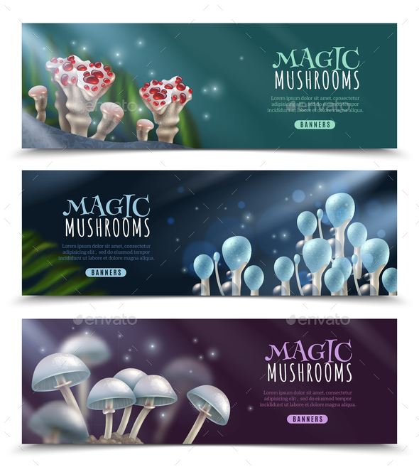 Magic Mushrooms Horizontal Banners Set - Backgrounds Decorative