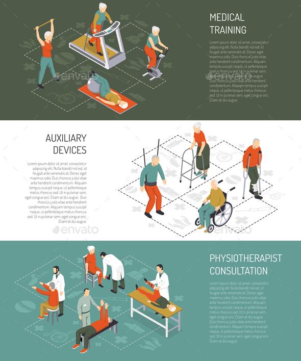 Rehabilitation Isometric Horizontal Banners - People Characters