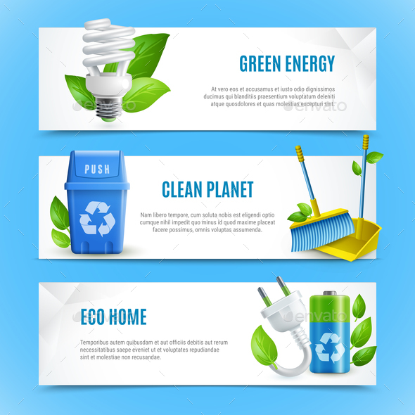 GraphicRiver Ecology Realistic Paper Banners 20596398