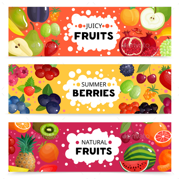 Fruits And Berries Banners - Food Objects