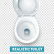 Realistic White Toilet Bowl Top View