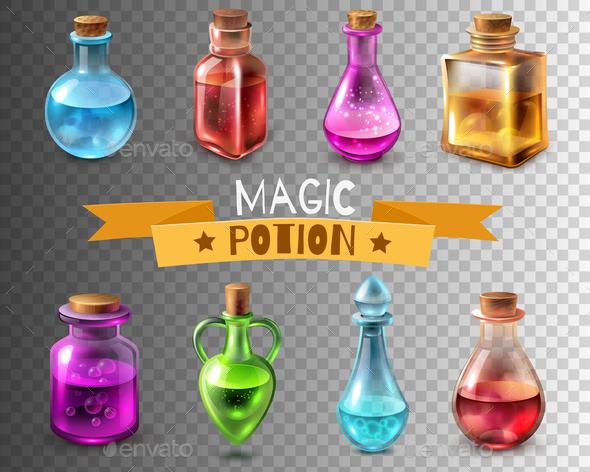 Potion Flasks Transparent Collection - Miscellaneous Vectors