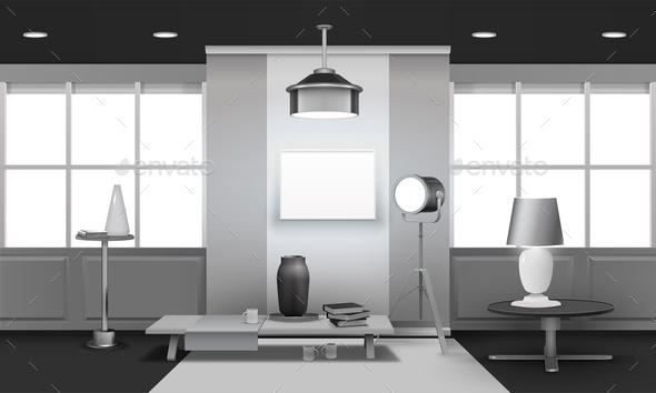 Realistic Loft Interior 3D Design - Objects Vectors
