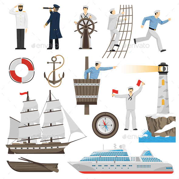 GraphicRiver Sailboat Vessel Attributes Icons Set 20596476