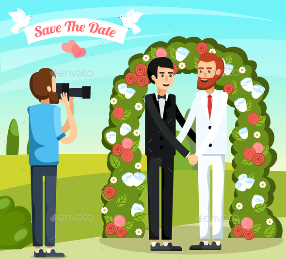 Flat Wedding People Orthogonal Composition - People Characters