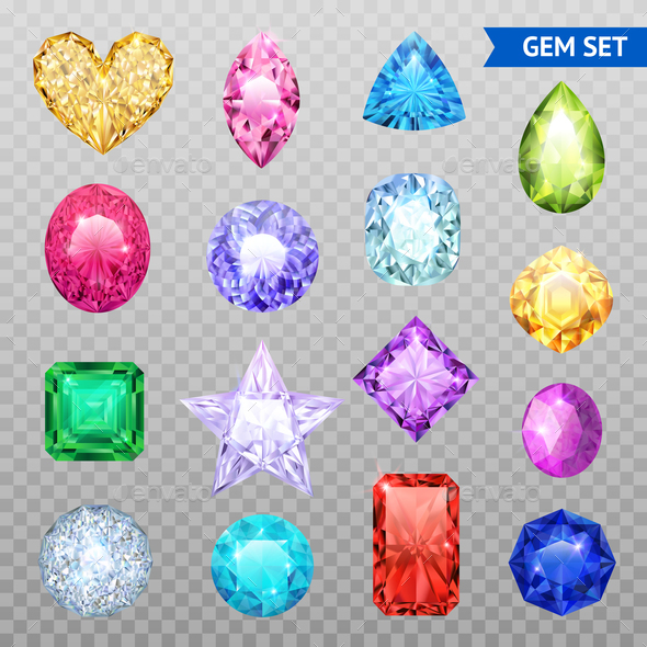 Gemstones Transparent Icon Set - Miscellaneous Vectors
