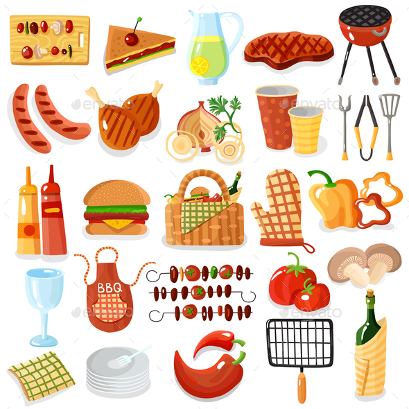 GraphicRiver Barbecue Accessories Stylish Icons Collection 20596546