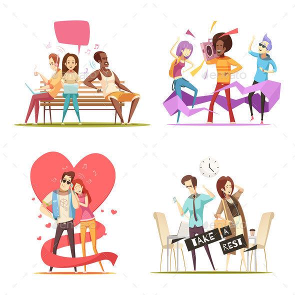 GraphicRiver People Listening Music Compositions 20596554