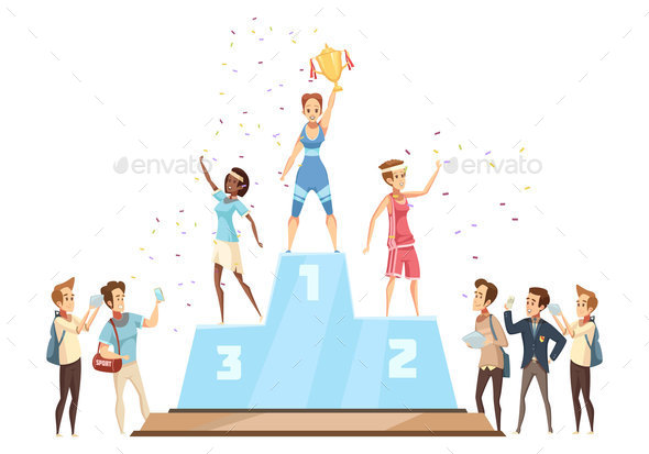 Winners On Podium Composition - People Characters