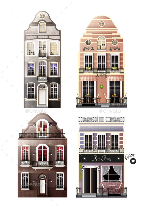 GraphicRiver Variations Of Old European Facade Houses 20596564