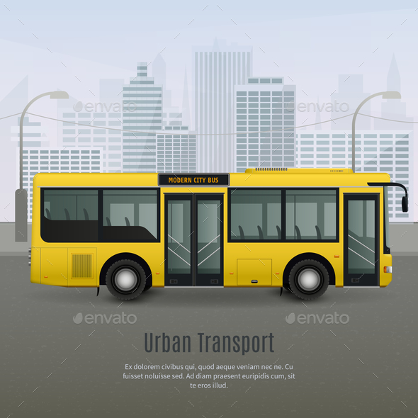 Realistic City Bus Illustration - Buildings Objects