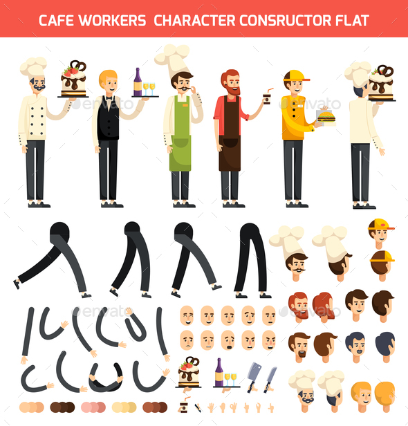 Cafe Worker Character Icon Set - People Characters