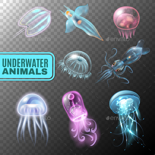 Underwater Transparent Icon Set - Animals Characters