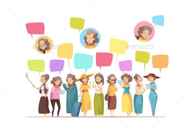 Women Senior Online Cartoon Composition - Miscellaneous Vectors