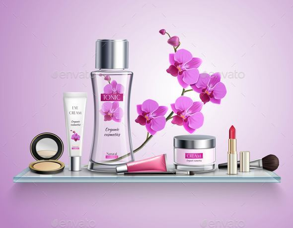 Makeup Realistic Composition - Backgrounds Decorative