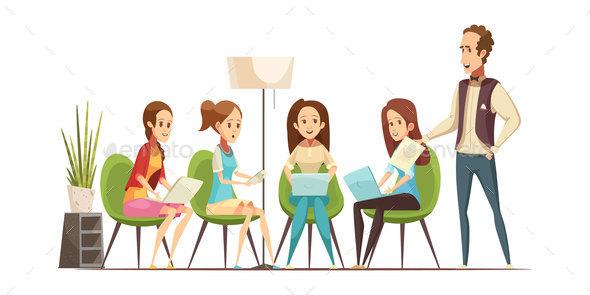 Teenage Girls Retro Cartoon Illustration - People Characters