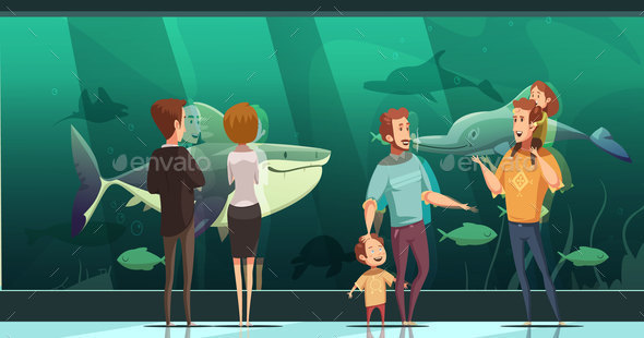 People In Aquarium Design Composition - People Characters