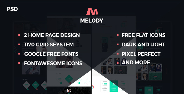 ThemeForest Melody Photographer One Page Psd Template 20478517
