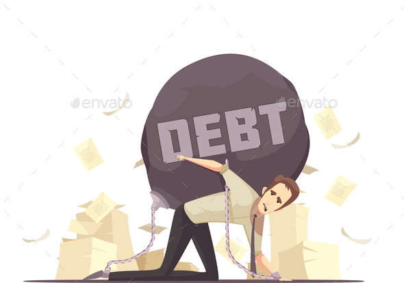 GraphicRiver Business Failure Debt Cartoon Icon 20596608